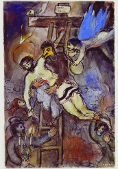 (RNS1-jan16) Marc Chagall, Descent from the Cross, 1941, ink and gouache on paper, 19 1/2 x 12 7/8 in. Collection of the Rastegar Family, California. © 2013 Artists Rights Society (ARS), New York / ADAGP, Paris. For use with RNS-CHAGALL-PAINT, transmitted on January 16, 2014, Photo courtesy of The Jewish Museum.