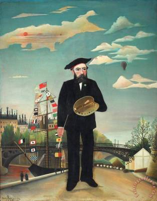 Myself Portrait ¨C Landscape Painting by Henri Rousseau; Myself Portrait ¨C Landscape Art Print for sa