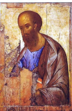Damaged Icon of Paul by Andrej Rublev, 1407